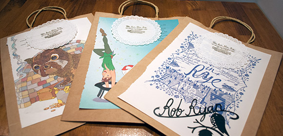 paper bags with cute disney / picture book images on them