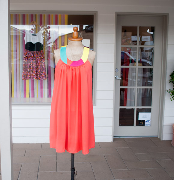outside of we live like this store, paddington with Skakah dress