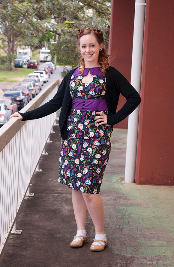 Illustrator and designer - Ella Mobbs wearing Miss Fortune dress