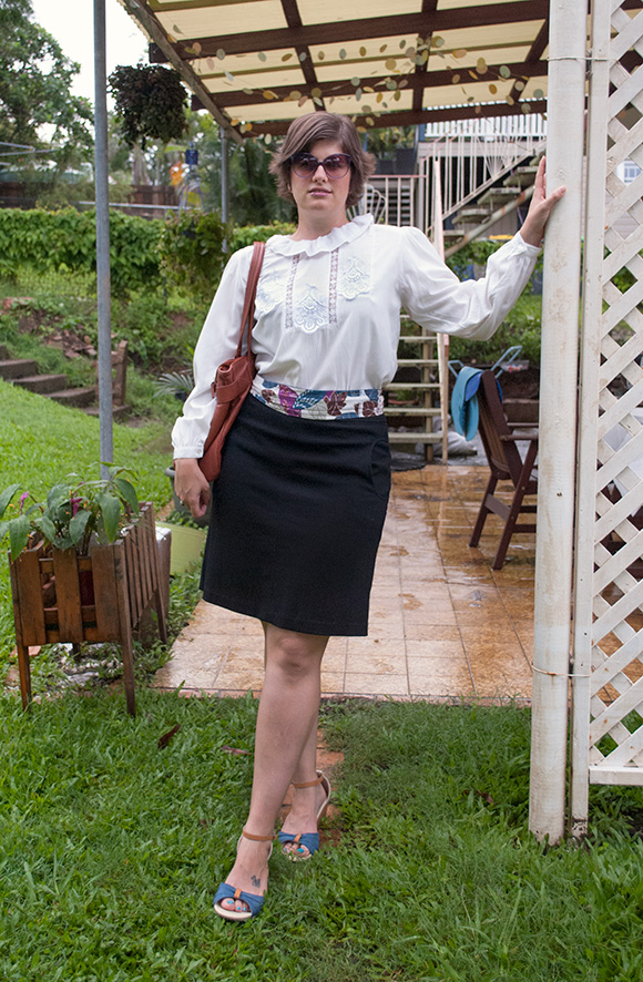 Blouse, skirt and bag all purchased from Sydney vintage stores