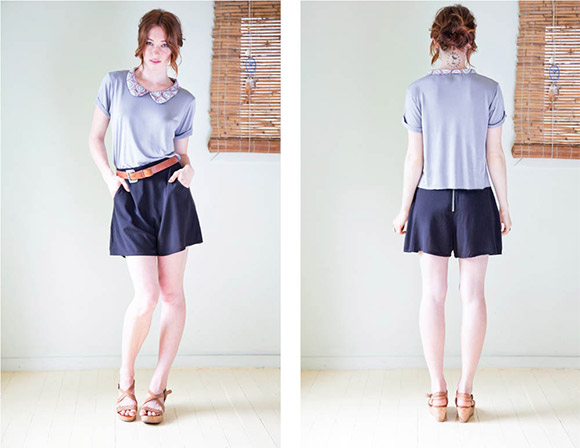 Baumbach top with printed peter pan collar and shorts