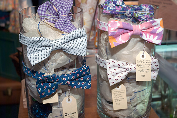 Bowties made from vintage fabrics