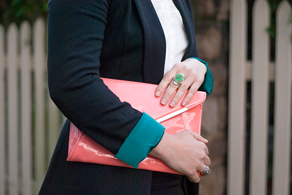 Betts clutch and Guess boyfriend Blazer a turquoise dream
