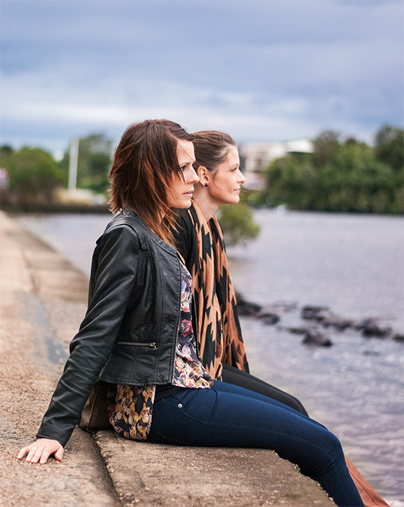 French Connection leather jacket and Ladakh top by the Brisbane River