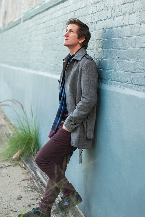 Gibson coat and Industrie pants and scarf mens fashion Brisbane