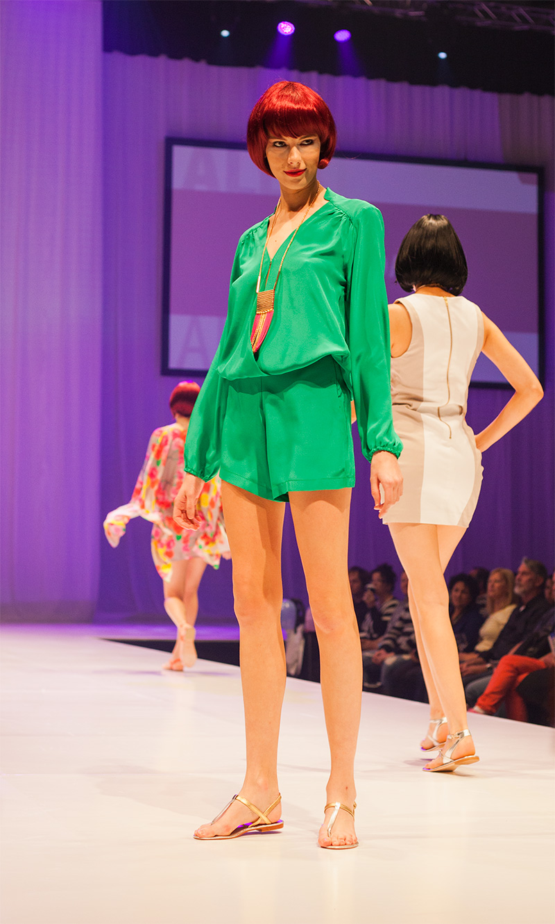 Alexis Dawn Green jumpsuit at the Ekka fashion parade
