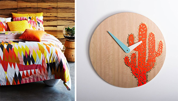 kip and co bed spread and peaches and keen clock
