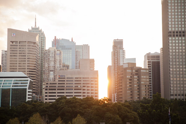 view from the rooftop in sydney at sunset