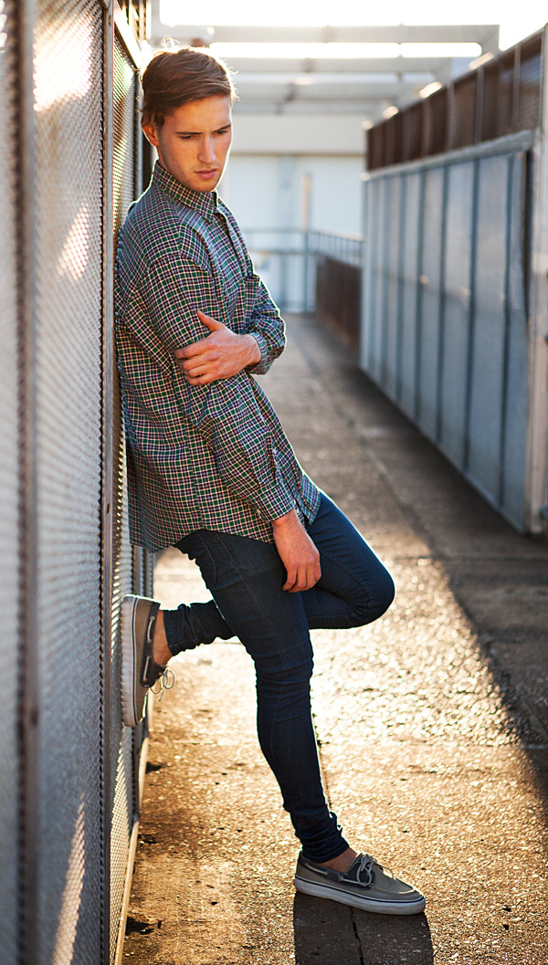 brisbane male fashion model declan kulver wearing vintage