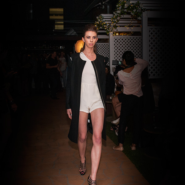 jessica tovey black coat with white dress at capulet bar fashion fridays
