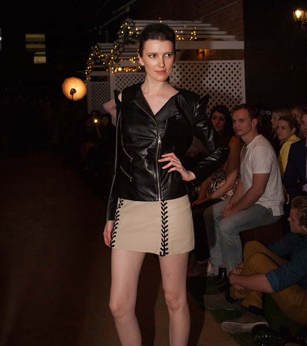 jessica tovey black leather jacket at capulet bar fashion fridays