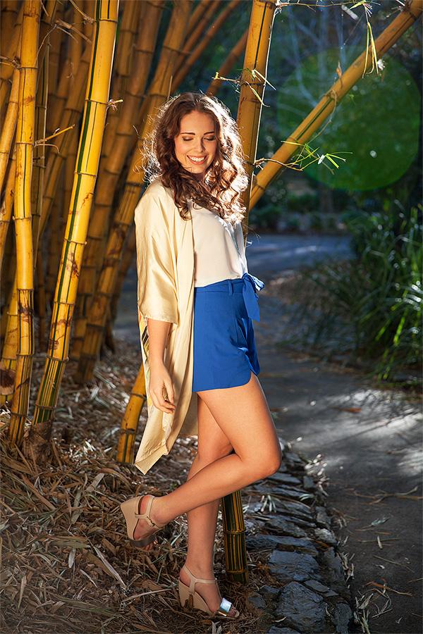 Vigari fashions shorts and top on brisbane model jemma